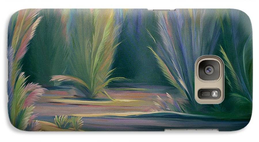 Feathers Galaxy S7 Case featuring the painting Mural Field Of Feathers by Nancy Griswold