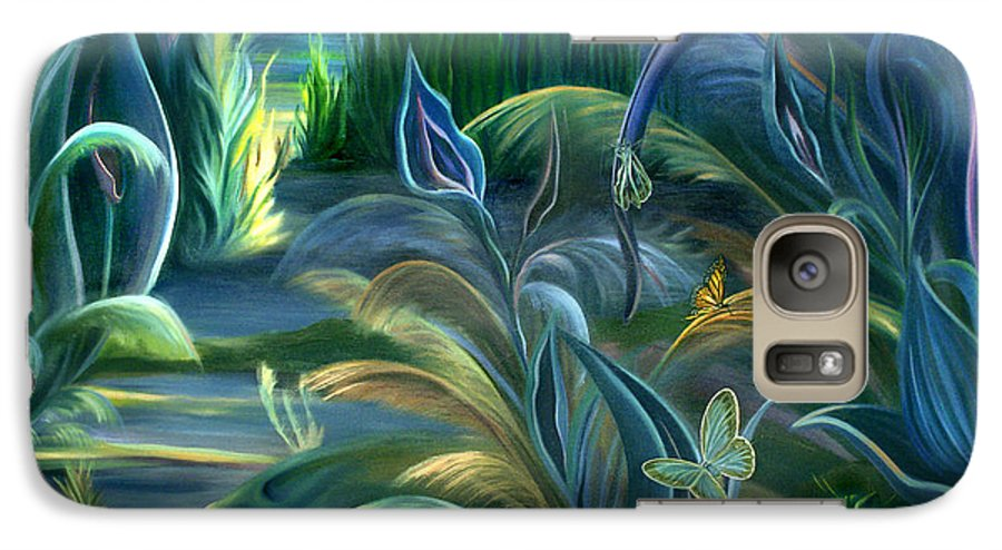 Mural Galaxy S7 Case featuring the painting Mural Insects Of Enchanted Stream by Nancy Griswold