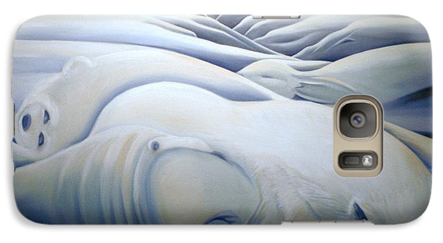 Mural Galaxy S7 Case featuring the painting Mural Winters Embracing Crevice by Nancy Griswold