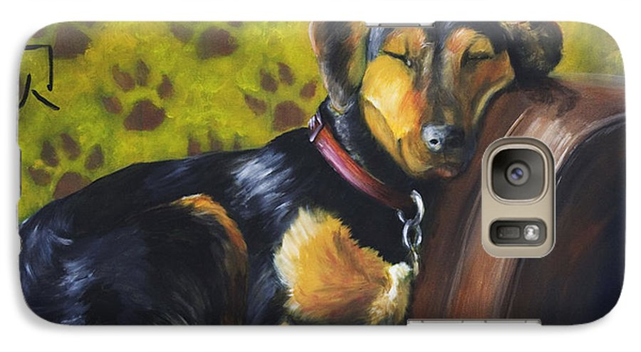 Dog Galaxy S7 Case featuring the painting Murphy Vi Sleeping by Nik Helbig