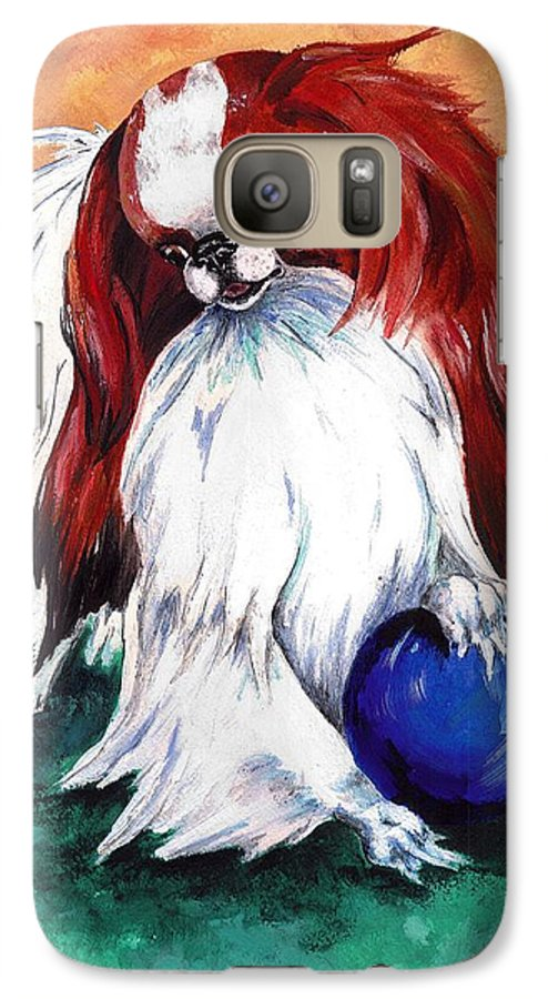 Japanese Chin Galaxy S7 Case featuring the painting My Ball by Kathleen Sepulveda