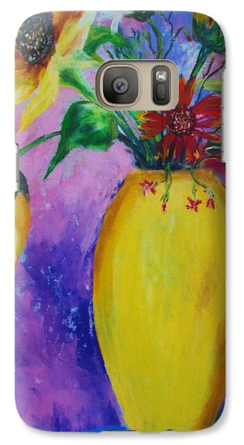 Sunflowers Galaxy S7 Case featuring the painting My Flowers by Melinda Etzold