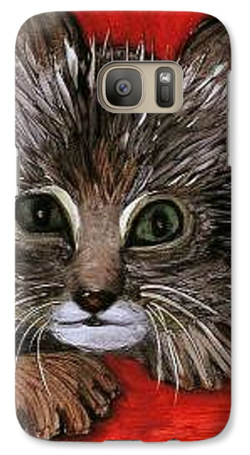 Very Curious And Beautiful Kittie Cat Galaxy S7 Case featuring the painting My Kittie Cat by Pilar Martinez-Byrne