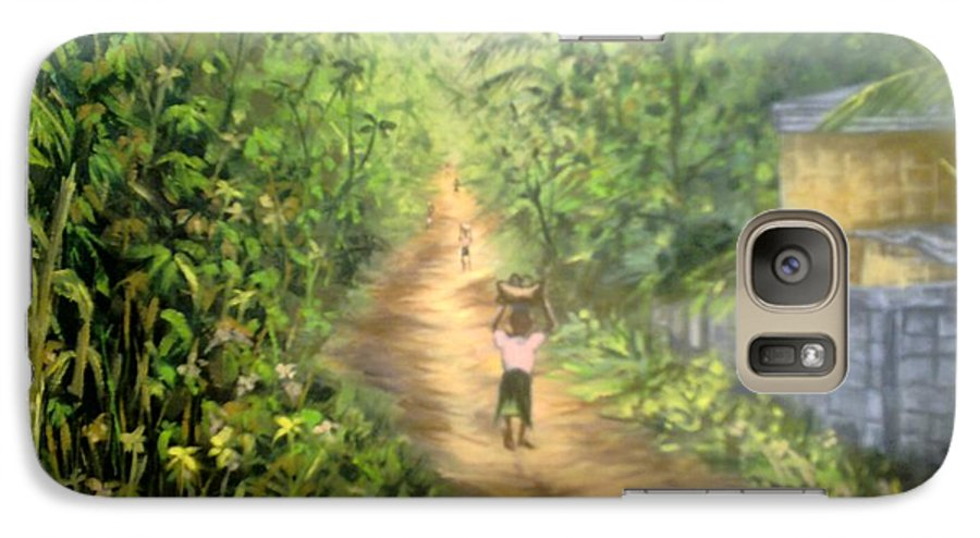 Culture Galaxy S7 Case featuring the painting My Village by Olaoluwa Smith