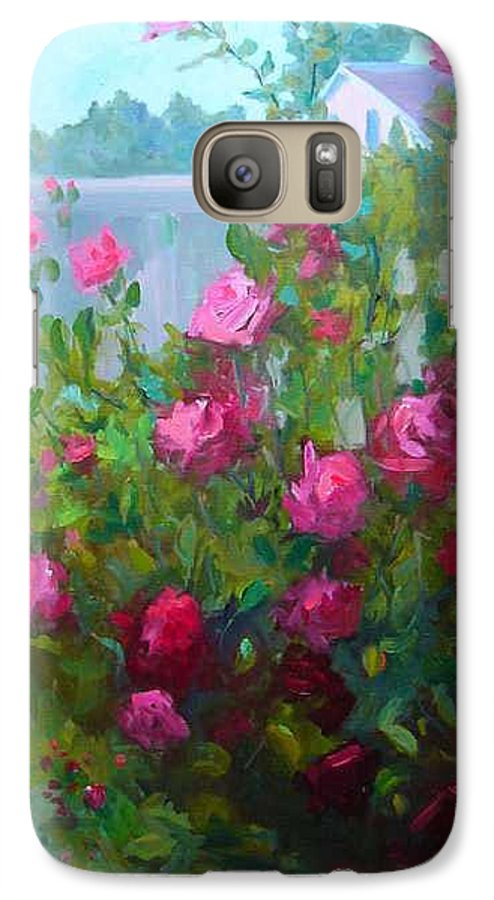 Climing Red Roses On Fence Galaxy S7 Case featuring the painting Myback Yard Roses by Patricia Kness