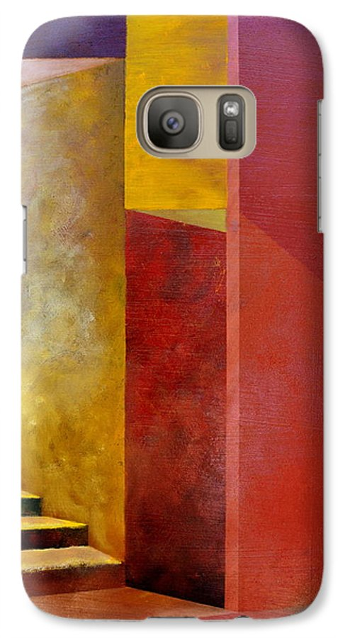 Gold Galaxy S7 Case featuring the painting Mystery Stairway by Michelle Calkins