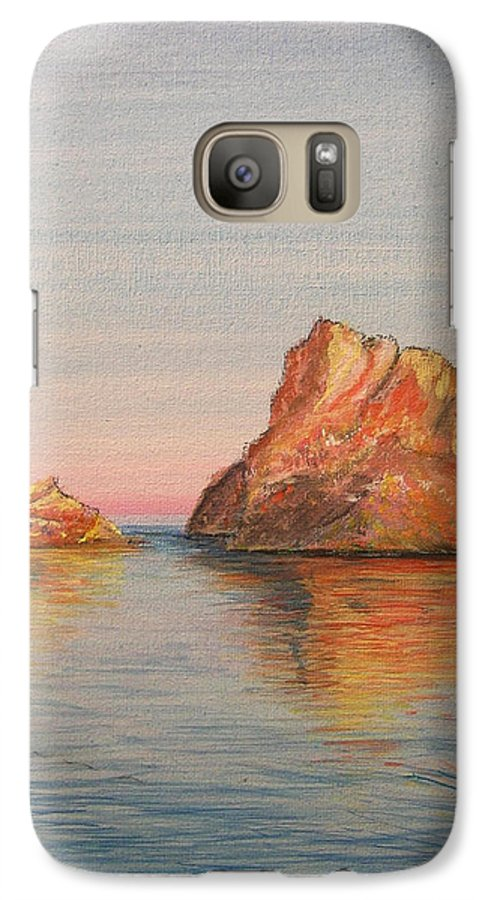 Island Galaxy S7 Case featuring the painting Mystical Island Es Vedra by Lizzy Forrester