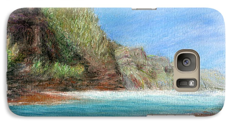Rainbow Colors Pastel Galaxy S7 Case featuring the painting Na Pali by Kenneth Grzesik