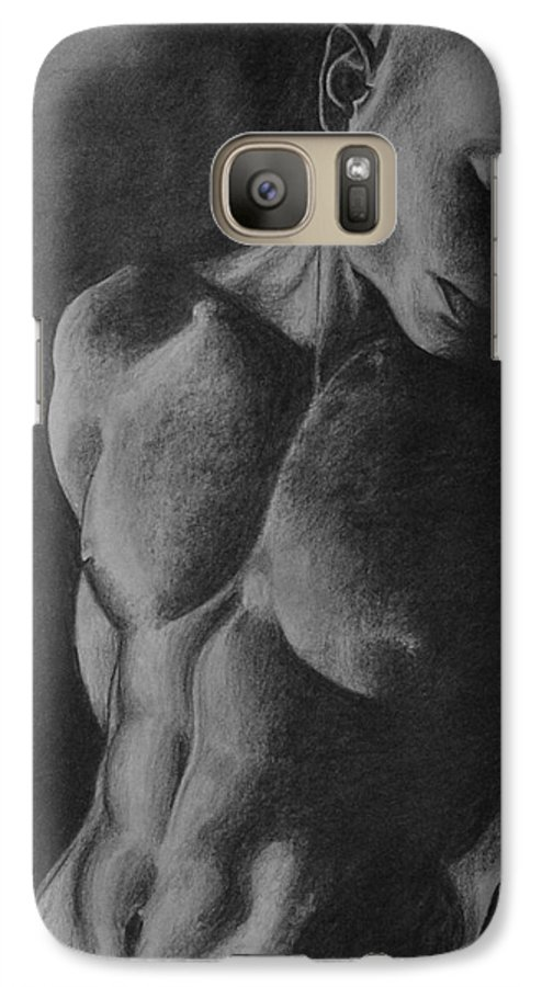 Man Galaxy S7 Case featuring the drawing Naked Man by Trisha Lambi