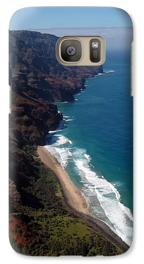Hawaii Galaxy S7 Case featuring the photograph Napali Cliffs by Kathy Schumann