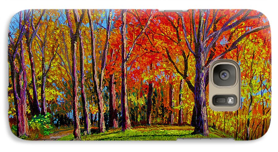 Trees Autumn Hill Grass Sunshine Shadows Sky Colors Path Galaxy S7 Case featuring the painting Nashville North by Stan Hamilton