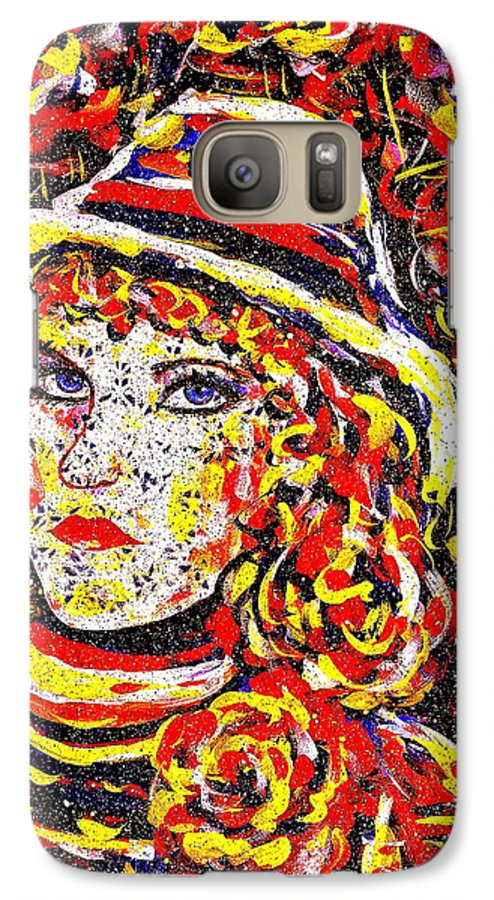 Woman Galaxy S7 Case featuring the painting Nat With The Hat by Natalie Holland