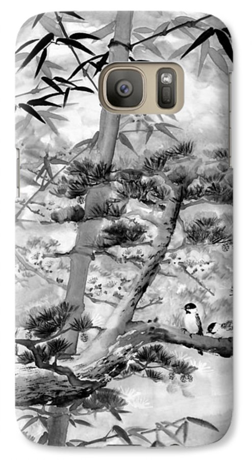 Black And White Galaxy S7 Case featuring the painting Nature by Eileen Fong