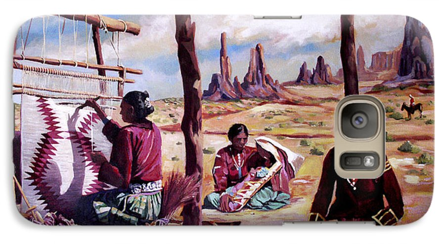 Native American Galaxy S7 Case featuring the painting Navajo Weavers by Nancy Griswold