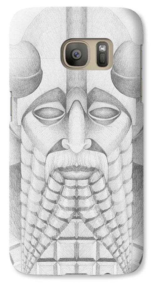 Babylonian Galaxy S7 Case featuring the drawing Nebuchadezzar by Curtiss Shaffer