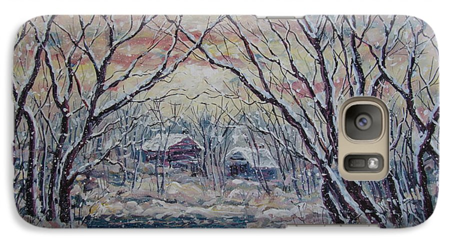 Landscape Galaxy S7 Case featuring the painting Neighbors. by Leonard Holland