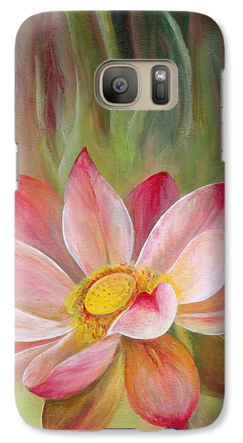 Flower Galaxy S7 Case featuring the painting Nenuphar by Muriel Dolemieux
