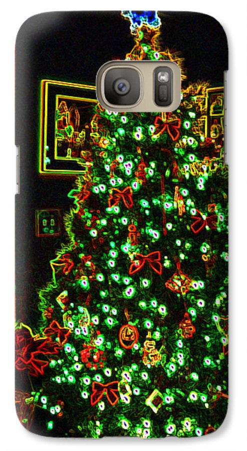 Christmas Galaxy S7 Case featuring the photograph Neon Christmas Tree by Nancy Mueller