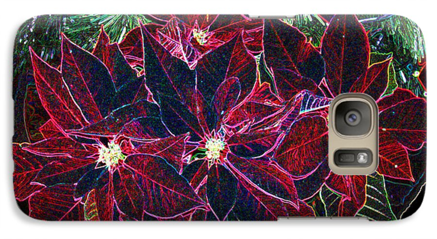 Flowers Galaxy S7 Case featuring the photograph Neon Poinsettias by Nancy Mueller