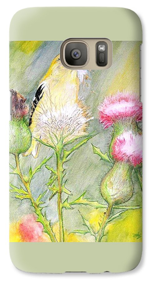 Goldfinch Galaxy S7 Case featuring the painting Nest Fluff by Debra Sandstrom