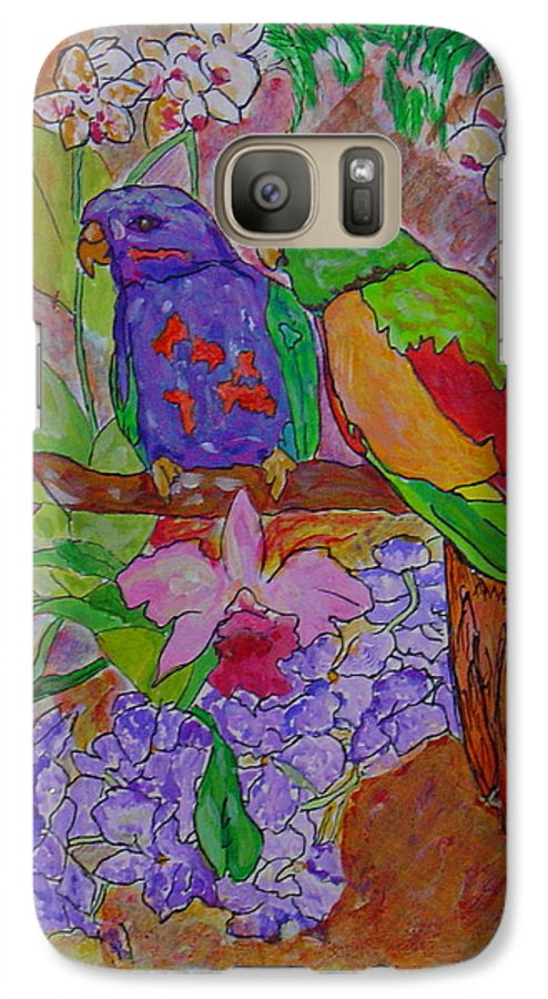 Tropical Pair Birds Parrots Original Illustration Leilaatkinson Galaxy S7 Case featuring the painting Nesting by Leila Atkinson