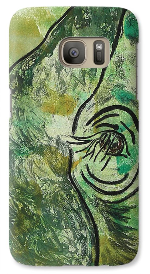 Monotype Galaxy S7 Case featuring the mixed media Never Forgotten by Cori Solomon