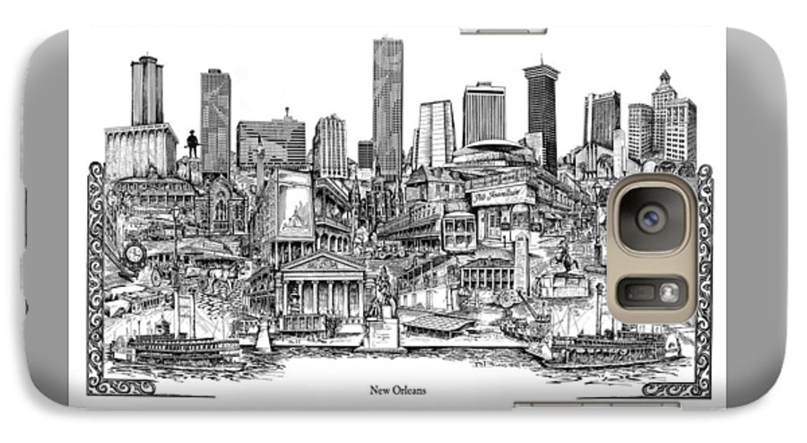 City Drawing Galaxy S7 Case featuring the drawing New Orleans by Dennis Bivens