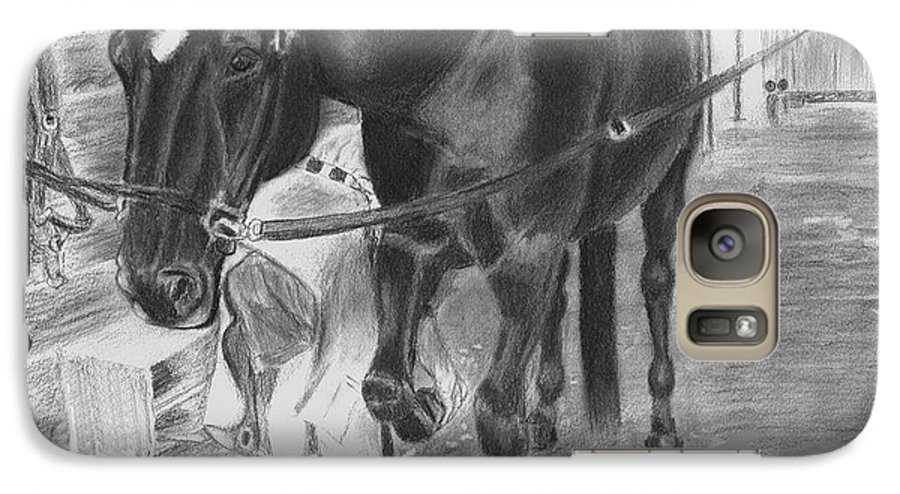 Horse Galaxy S7 Case featuring the drawing New Shoes by Quwatha Valentine