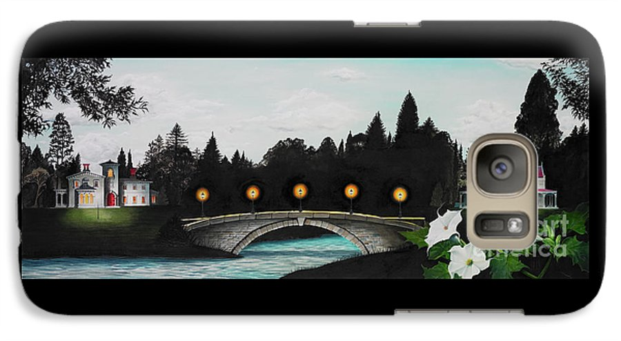 Architecture Galaxy S7 Case featuring the painting Night Bridge by Melissa A Benson