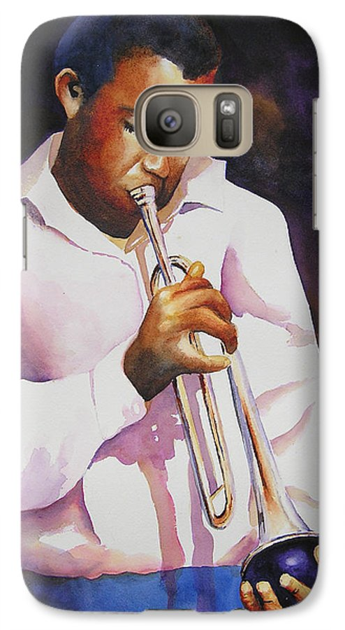 Trumpet Galaxy S7 Case featuring the painting Night Music by Karen Stark