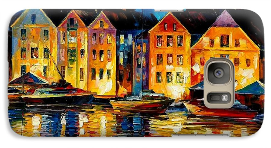City Galaxy S7 Case featuring the painting Night Resting Original Oil Painting by Leonid Afremov