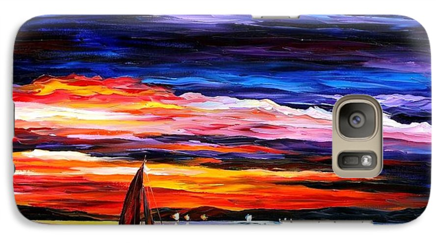 Seascape Galaxy S7 Case featuring the painting Night Sea by Leonid Afremov