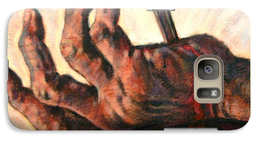 Christ Galaxy S7 Case featuring the painting No Greater Love by John Lautermilch