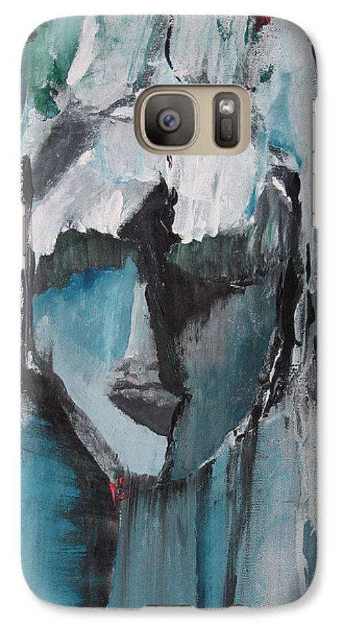 Abstract Acrylic Blue Darkestartist Nobody Portrait Darkest Artist Face Galaxy S7 Case featuring the painting Nobody by Darkest Artist