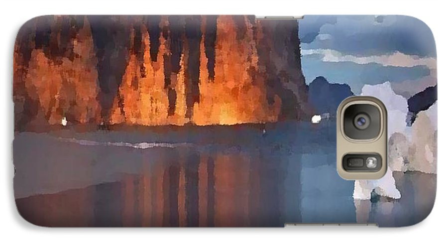 North.rock.iceberg.sea.sky.clouds.cold.landscape.nature.rest.silence Galaxy S7 Case featuring the digital art North Silence by Dr Loifer Vladimir