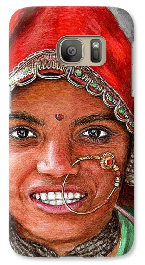 Woma Galaxy S7 Case featuring the painting Northindian Woman by Nicole Zeug