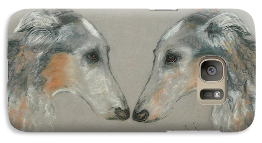 Dog Galaxy S7 Case featuring the drawing Nose To Nose by Cori Solomon
