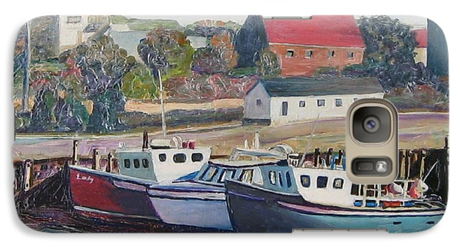 Nova Scotia Galaxy S7 Case featuring the painting Nova Scotia Boats by Richard Nowak