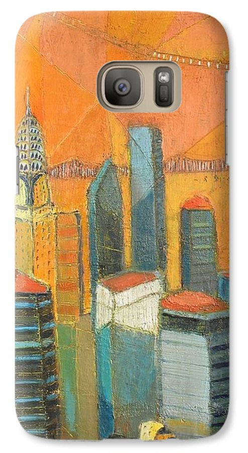 Galaxy S7 Case featuring the painting Nyc In Orange by Habib Ayat