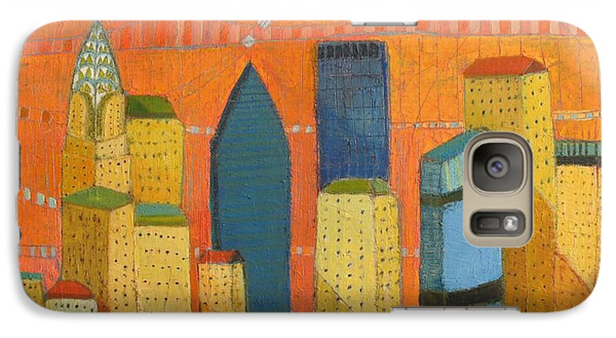Abstract Cityscape Galaxy S7 Case featuring the painting Nyc With Chrysler by Habib Ayat