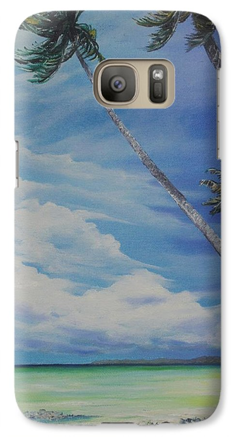 Trinidad And Tobago Seascape Galaxy S7 Case featuring the painting Nylon Pool Tobago. by Karin Dawn Kelshall- Best