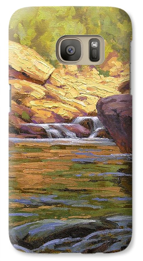 Water Scene Galaxy S7 Case featuring the painting Oak Creek Tributary by Cody DeLong