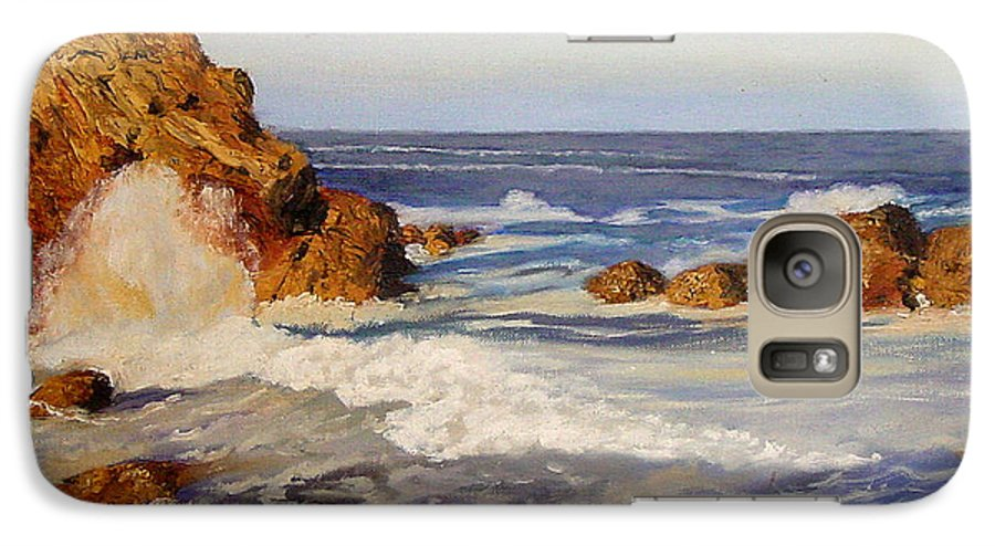 Seascape Galaxy S7 Case featuring the painting Ocean Rock by Quwatha Valentine