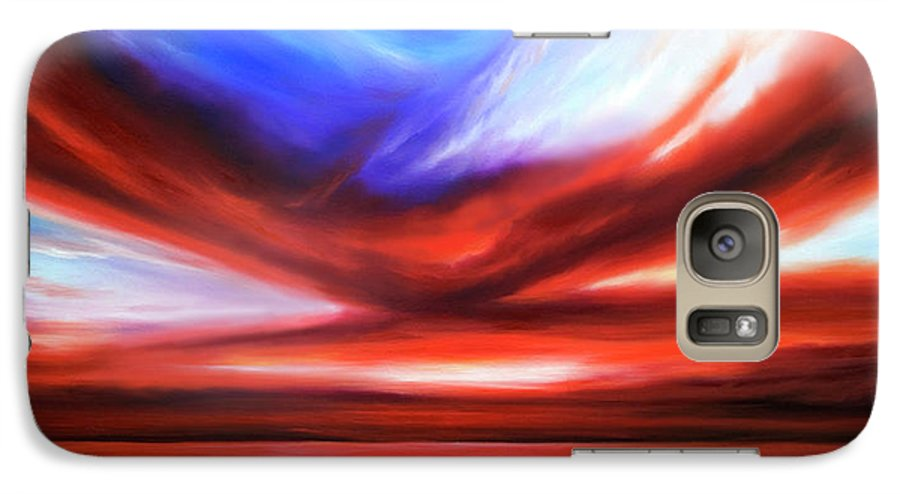 Sunrise; Sunset; Power; Glory; Cloudscape; Skyscape; Purple; Red; Blue; Stunning; Landscape; James C. Hill; James Christopher Hill; Jameshillgallery.com; Ocean; Lakes; Storm; Tornado; Lightning Galaxy S7 Case featuring the painting October Sky V by James Christopher Hill