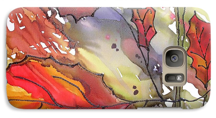 Leaf Galaxy S7 Case featuring the mixed media Octoberthird by Susan Kubes
