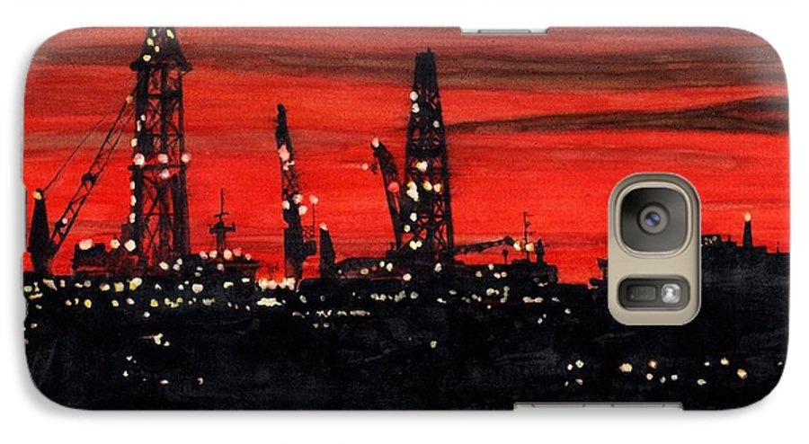 Cityscape Galaxy S7 Case featuring the painting Oil Rigs Night Construction Portland Harbor by Dominic White