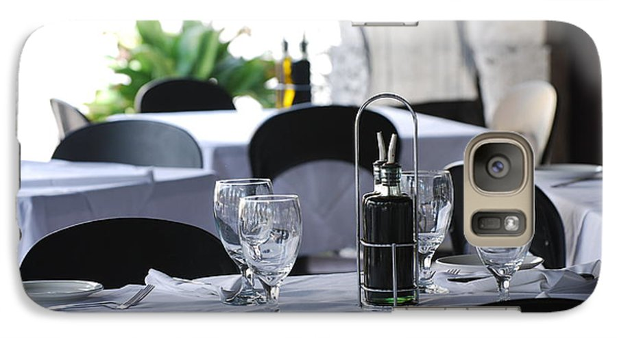 Tables Galaxy S7 Case featuring the photograph Oils And Glass At Dinner by Rob Hans