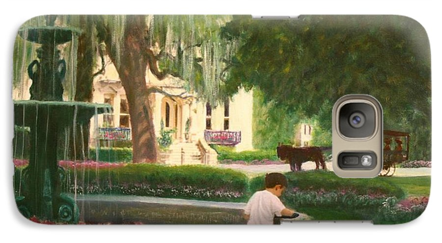 Savannah; Fountain; Child; House Galaxy S7 Case featuring the painting Old And Young Of Savannah by Ben Kiger