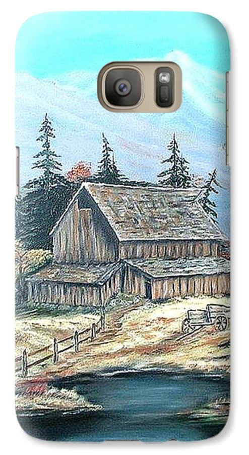 Landscape Pond Wagon Old Trees Mountain Galaxy S7 Case featuring the painting Old Barn Above The Pond by Kenneth LePoidevin