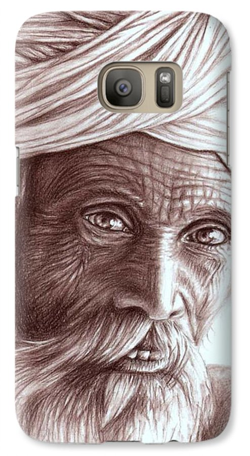 Man Galaxy S7 Case featuring the drawing Old Indian Man by Nicole Zeug